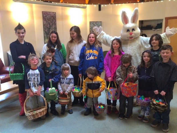 Easter egg hunters group with bunny 032716